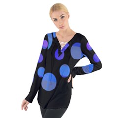 Blue circles  Women s Tie Up Tee