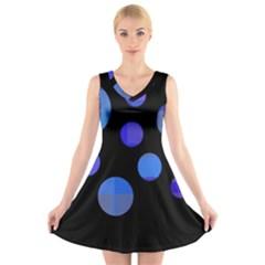 Blue Circles  V Neck Sleeveless Skater Dress