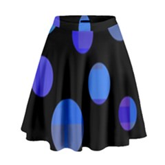 Blue Circles  High Waist Skirt