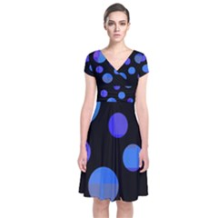 Blue Circles  Short Sleeve Front Wrap Dress