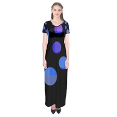 Blue Circles  Short Sleeve Maxi Dress