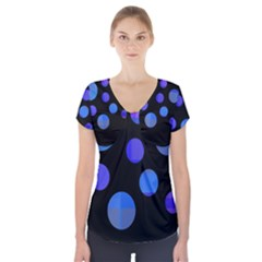 Blue Circles  Short Sleeve Front Detail Top