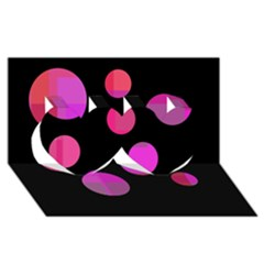 Pink abstraction Twin Hearts 3D Greeting Card (8x4)