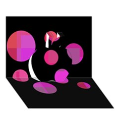Pink abstraction Apple 3D Greeting Card (7x5)