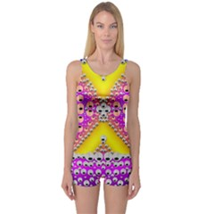 Music Tribute In The Sun Peace And Popart One Piece Boyleg Swimsuit