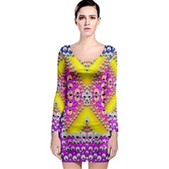 Music Tribute In The Sun Peace And Popart Long Sleeve Bodycon Dress