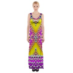 Music Tribute In The Sun Peace And Popart Maxi Thigh Split Dress