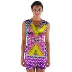 Music Tribute In The Sun Peace And Popart Wrap Front Bodycon Dress