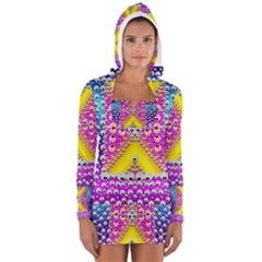 Music Tribute In The Sun Peace And Popart Women s Long Sleeve Hooded T-shirt