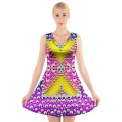 Music Tribute In The Sun Peace And Popart V Neck Sleeveless Skater Dress