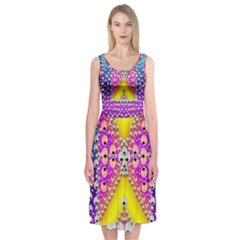 Music Tribute In The Sun Peace And Popart Midi Sleeveless Dress