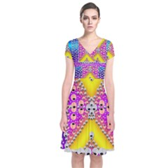Music Tribute In The Sun Peace And Popart Short Sleeve Front Wrap Dress