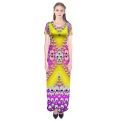 Music Tribute In The Sun Peace And Popart Short Sleeve Maxi Dress