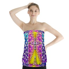Music Tribute In The Sun Peace And Popart Strapless Top