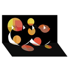 Orange abstraction Twin Hearts 3D Greeting Card (8x4)