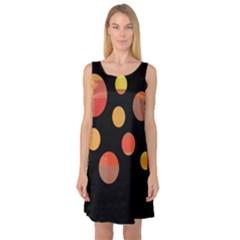 Orange abstraction Sleeveless Satin Nightdress