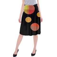 Orange abstraction Midi Beach Skirt