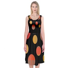 Orange Abstraction Midi Sleeveless Dress