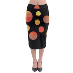 Orange Abstraction Midi Pencil Skirt