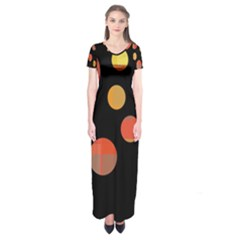 Orange abstraction Short Sleeve Maxi Dress