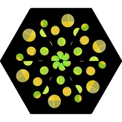 Green abstract circles Mini Folding Umbrellas