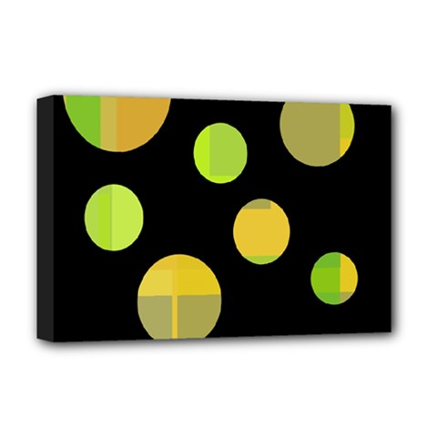 Green abstract circles Deluxe Canvas 18  x 12