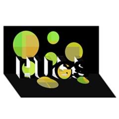 Green abstract circles HUGS 3D Greeting Card (8x4)