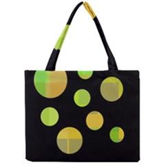 Green abstract circles Mini Tote Bag