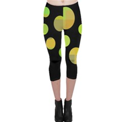 Green abstract circles Capri Leggings