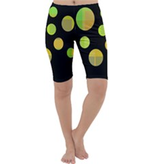 Green abstract circles Cropped Leggings