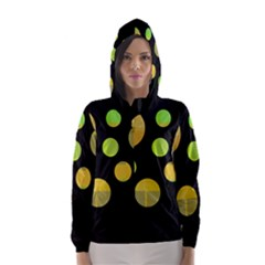 Green abstract circles Hooded Wind Breaker (Women)