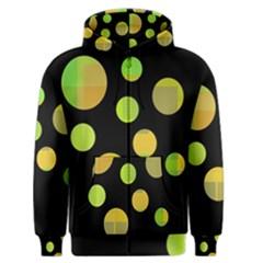 Green abstract circles Men s Zipper Hoodie