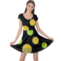Green abstract circles Cap Sleeve Dresses