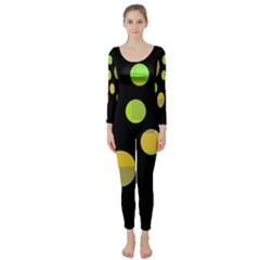 Green abstract circles Long Sleeve Catsuit