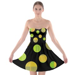 Green abstract circles Strapless Dresses