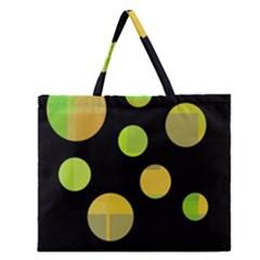 Green abstract circles Zipper Large Tote Bag