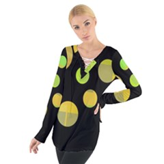 Green abstract circles Women s Tie Up Tee