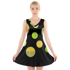 Green abstract circles V-Neck Sleeveless Skater Dress