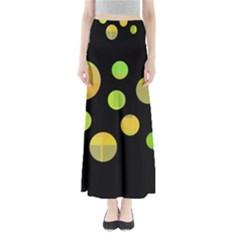 Green abstract circles Maxi Skirts