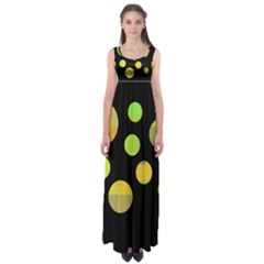 Green abstract circles Empire Waist Maxi Dress