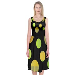Green Abstract Circles Midi Sleeveless Dress
