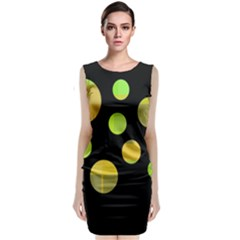 Green Abstract Circles Classic Sleeveless Midi Dress