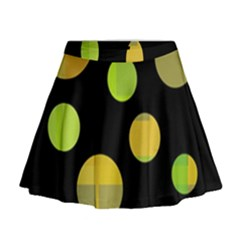 Green Abstract Circles Mini Flare Skirt