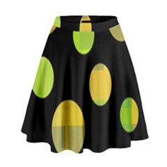 Green Abstract Circles High Waist Skirt