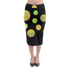Green Abstract Circles Midi Pencil Skirt