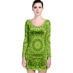 Magic Flowers In  The Deep Valley Of Paradise Long Sleeve Bodycon Dress