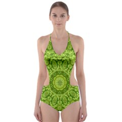 Magic Flowers In  The Deep Valley Of Paradise Cut-Out One Piece Swimsuit