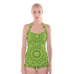 Magic Flowers In  The Deep Valley Of Paradise Boyleg Halter Swimsuit