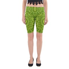 Magic Flowers In  The Deep Valley Of Paradise Yoga Cropped Leggings