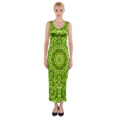 Magic Flowers In  The Deep Valley Of Paradise Fitted Maxi Dress